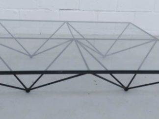 1 Mesa de centro cuadrada estructura hierro sobre de cristal mesce001