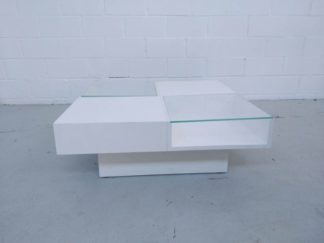 Mesa de centro madera blanca y cristal mesce002