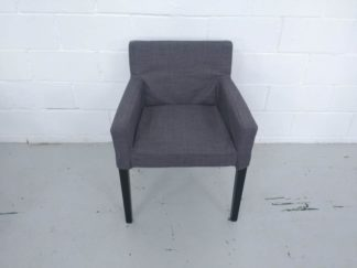 Silla de patas de madera negra y asiento tapizado gris asisi003