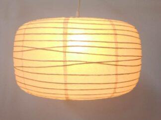 Lámpara techo tulipa oval papel beige ilute006