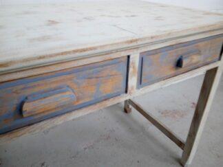 Mesa escritorio vintage blanca y azul Meses001