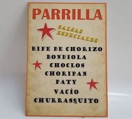 Cartel Parrilla 30x50cm