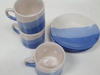 Juego café lineas azules