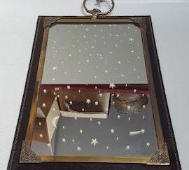Espejo marco dorado y cuero 70x50