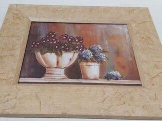 Cuadro bodegón macetas flores 36x32