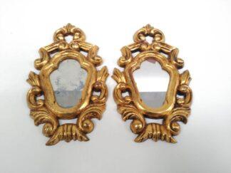 Espejo pequeño dorado x2